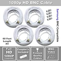 Set of (4) STS-FHDC60 Full HD 1080p Premium 60 BNC Cable with Coupler Compatible with Samsung BNC Systems