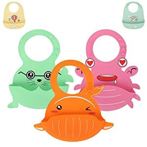 3 Pack Silicone Baby Bibs, Waterproof Toddlers Bibs Wide Food Crumb Catcher Pocket Soft Unisex for Baby Shower