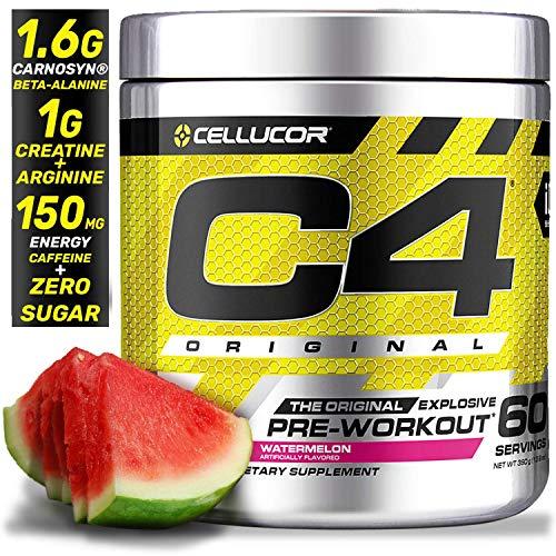 (Cellucor C4 Original Pre Workout Powder Energy Drink Supplement For Men & Women with Creatine, Caffeine, Nitric Oxide Booster, Citrulline & Beta Alanine, Watermelon, 60 Servings)