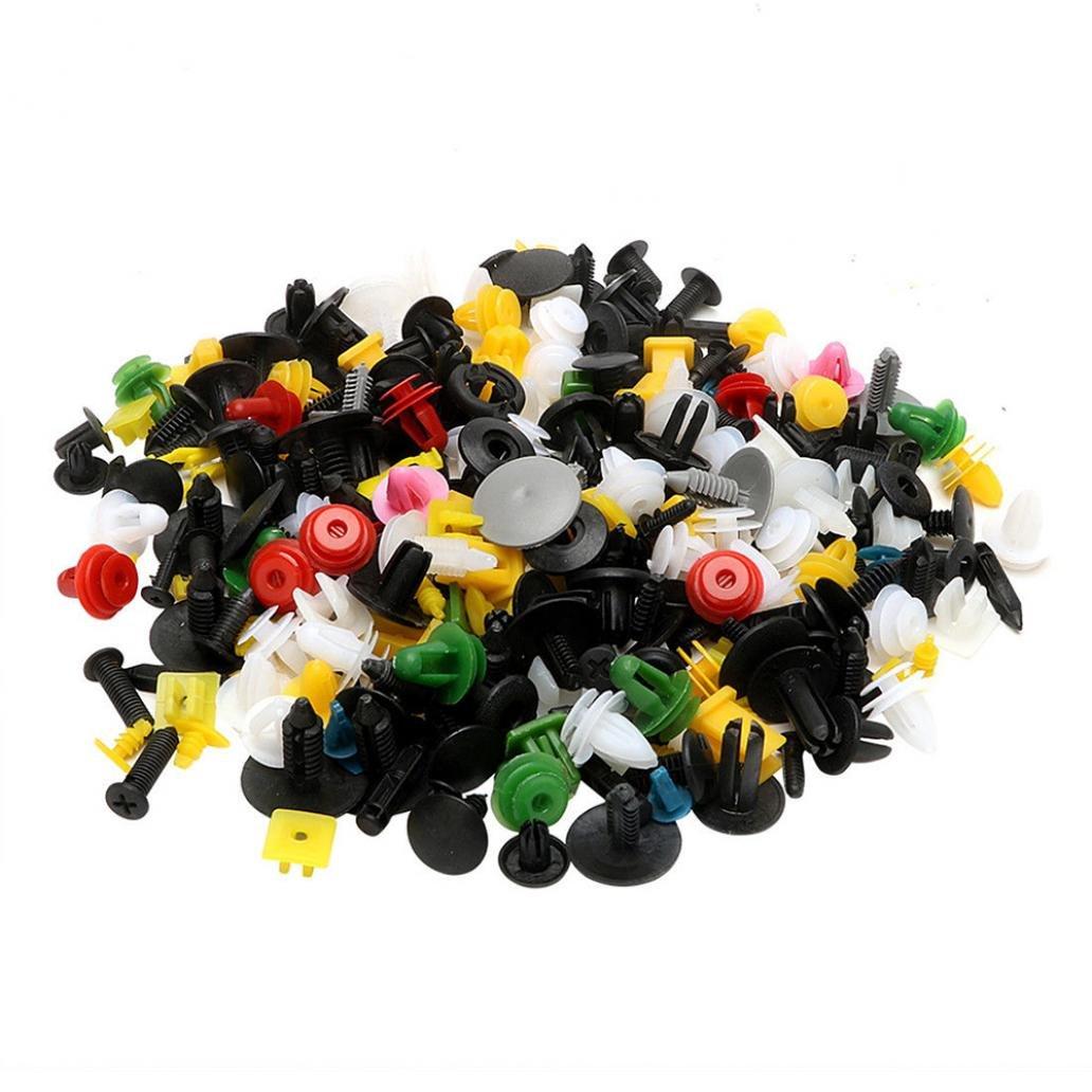 kangql 200PCS universale colore misto borsa clip di fissaggio auto paraurti porta pannello rivetti –  Mix color