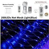 LED Net Light Blue Mesh Tree-Wrap String Lights 200LEDs Fairy Lights Battery Operated String Lights Outdoor Waterproof Net Lights String for Party Garden Xmas Holiday Festival Beach BBQ Travel Decorat