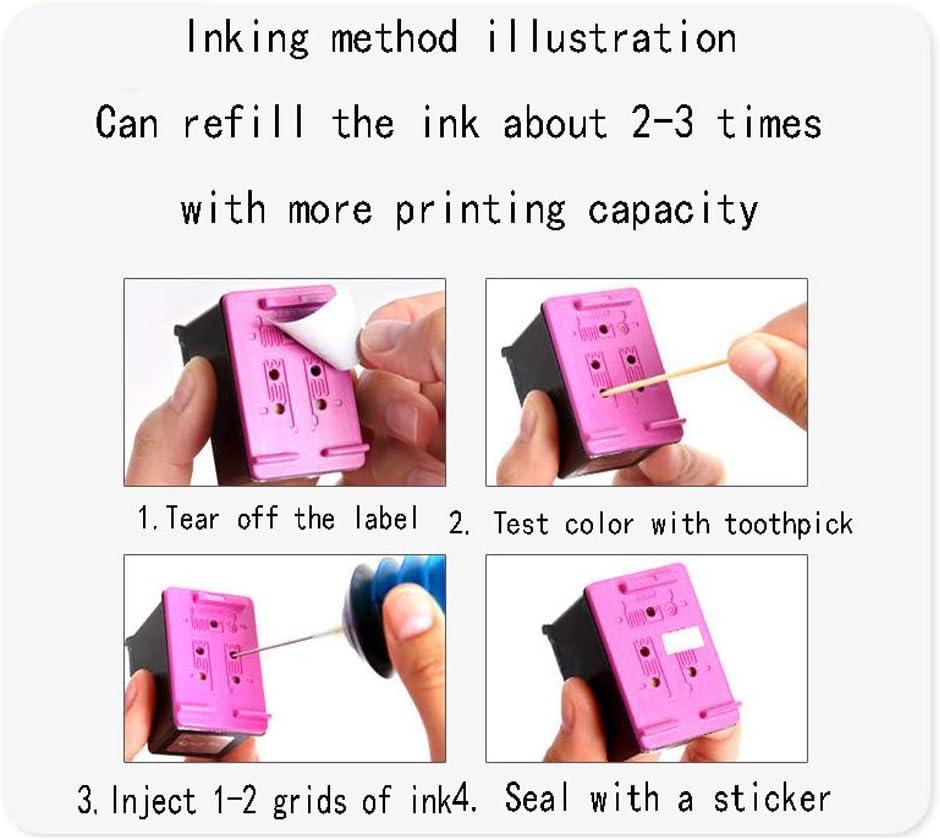 GYBN Large Capacity Easy to Refill Color Ink Cartridge for hp 680 Ink Cartridge deskjet 1115 1118 2315 2138 2678 Printer Black 3638 4678 3636 3838 3835 4538 4678 5088-2-set
