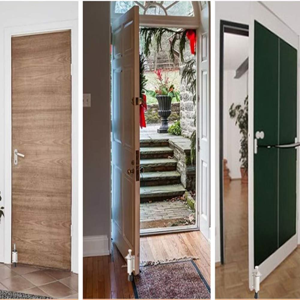 Spring Loaded Door Stop Tiberham Heavy Duty Kick Down Door Stopper with Soft Rubber Bumper Stainless Steel Step On Foot Operated Door Holder Stop Jammer