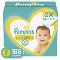 Diapers Size 2, 186 Count - Pampers Swaddlers Disposable Baby Diapers, ONE MONTH...