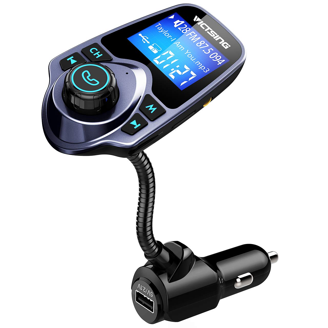 VicTsing Bluetooth FM Transmitter, Wireless in-Car Radio Transmitter Adapter /w USB Port, Support AUX Input 1.44 Inch Display TF Card Slot - Blue