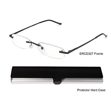 bbb207889933c EYE-ZOOM Metal Rimless Reading Glasses with Spring Hinge Lightweight Slim  Black and Silvery Aluminum