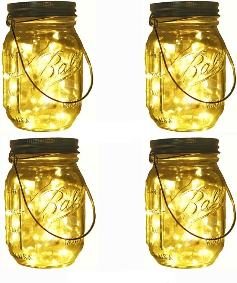 Solar Mason Jar Lights, Decem 4 Pack 10 LED Warm White Fairy Firefly String Lights, Build-in Glass Mason Jars for Patio Garden Party Wedding Christmas Decorative Lighting Fit for Regular Mouth Jars