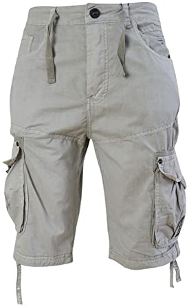 f78d779551 Mens Crosshatch 3/4 Length Cargo Shorts (40 Waist, Pussywillow Grey): Amazon .co.uk: Clothing