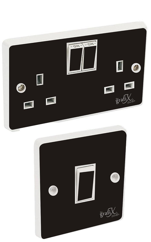 Black Gloss Light Switch & Double Socket Sticker Vinyl / Skin cover the grafix studio EXPSFD010015