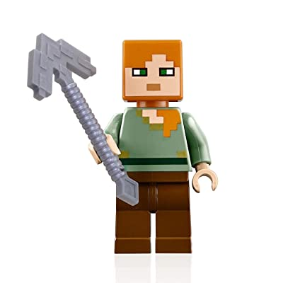 LEGO Minecraft Minifigure Alex Minifig with Iron Pickaxe: Toys & Games