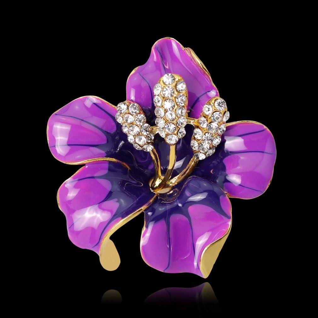 Yazilind mari/ée Exquis Mariage en Strass Fleur en Alliage Broche Corsagee Femmes Filles Accessoires Violet