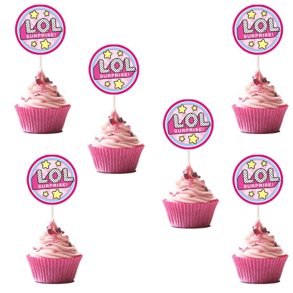 LOL Cupcake Toppers Girls Topper Set, Decorations for 1st Birthday Theme Party - 6 Count