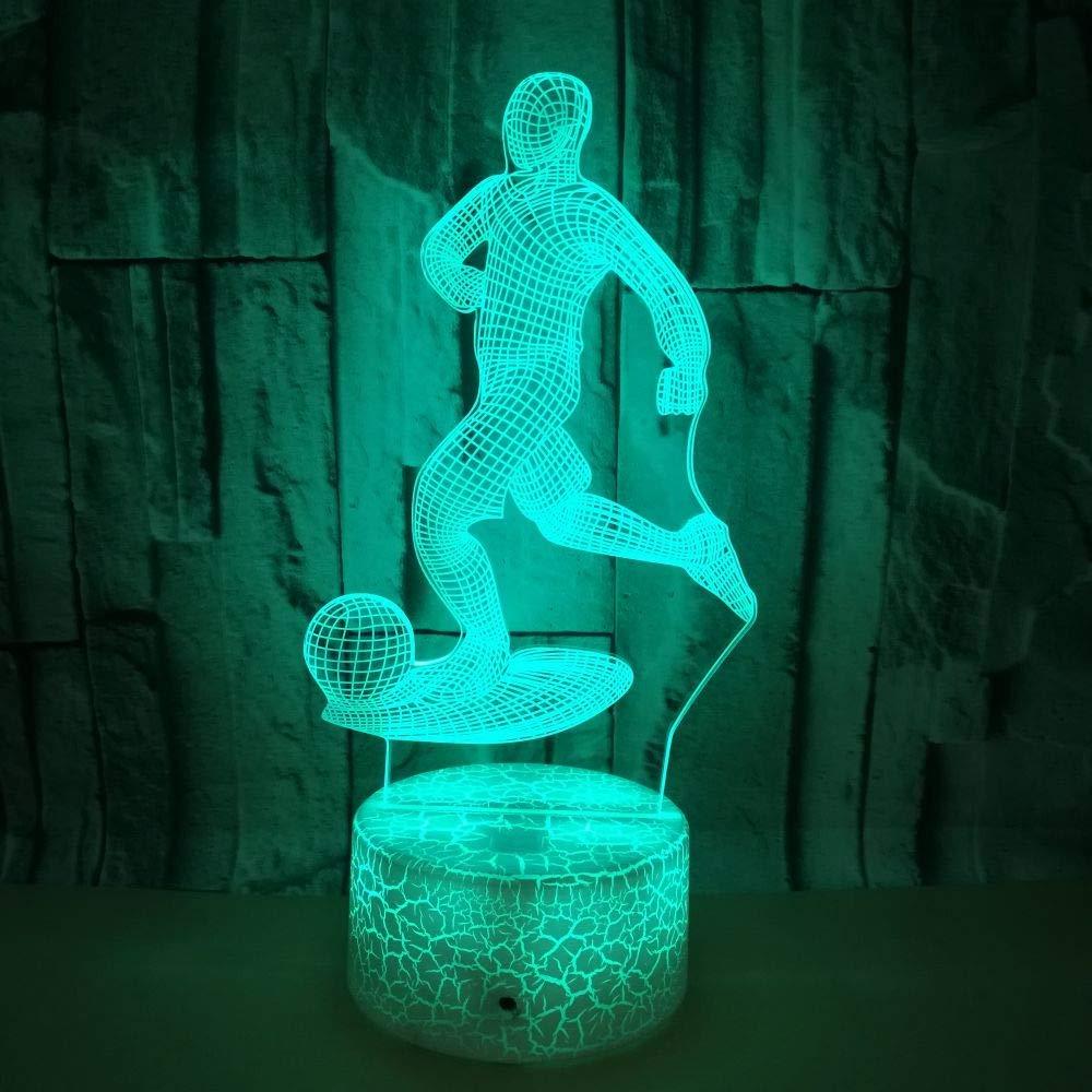 3D フットボール サッカー ナイトライト テーブルデスク 光イリュージョンランプ 7色変化ライト LEDテーブルランプ クリスマス ホーム 愛 誕生日 子供 子供 装飾 おもちゃ ギフト B07M6R9CL4