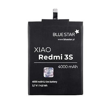 Blue Star Premium - Batería de Li-Ion litio 4000 mAh de Capacidad Carga Rapida 2.0 Compatible con el Xiaomi Redmi 3 / 3s