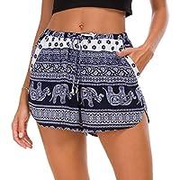 Urban CoCo Women's Elastic Waist Boho Floral Print Shorts