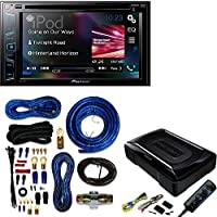 Pioneer Multimedia DVD Receiver with 6.2 WVGA Display and Built-in Bluetooth / Kenwood Compact Powered Enclosed Subwoofer for CAR W/ 4 Gauge Amp Kit