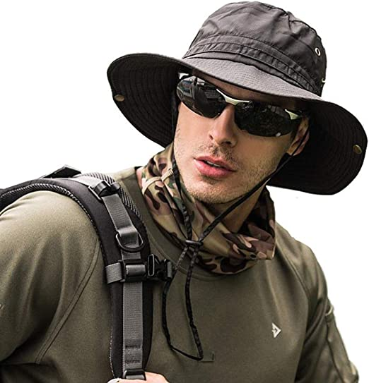 Black Fisherman/'s Fishing Sun Bucket Safari Hiking Boonie Cap Hat Caps Hats S//M
