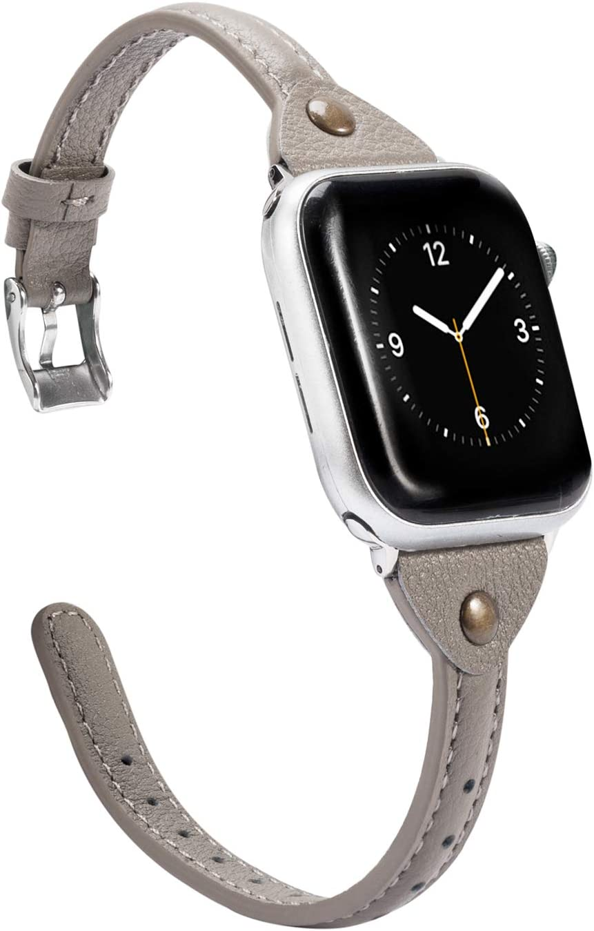 Wearlizer Gray Leather Compatible with Apple Watch Band 38mm 40mm for iWatch SE Womens Mens Strap Slim Wristband Leisure Exclusive New Bracelet (Metal Silver Buckle) Series 6 5 4 3 2 1 Edition Sports