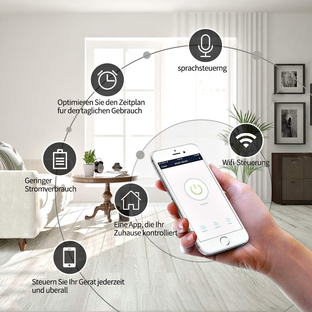 No se requiere Hub 1 pc Google Home Control Remoto Inal/ámbrico Funci/ón de Temporizador Mini Smart Enchufe Wifi Inal/ámbrico Funciona con  Alexa Echo IFTTT Enchufe Inteligente Wi-Fi