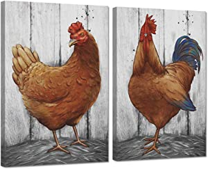 Zlove 2 Pieces Set Vintage Canvas Wall Art Rooster and Hen Chickens Farm Animal Picture Print on Canvas Stretched and Framed for Rustic Farmhouse Country Home Wall Decor Ready to Hang 16x24inchx2pcs