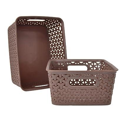 Basket Weave Plastic Small Storage Bin Set of 2 (10 x 8 x 4  sc 1 st  Amazon.com & Amazon.com: Basket Weave Plastic Small Storage Bin Set of 2 (10 x 8 ...