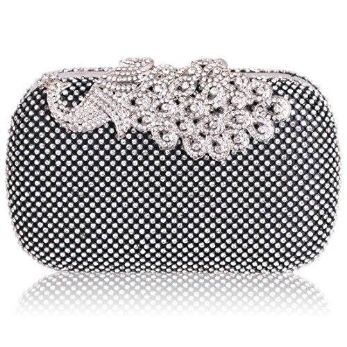 HMaking Bling Peacock Clutch Purse Rhinestones Crystal Evening Clutch (Midnight Bride Purse)