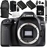 Canon EOS 80D DSLR Camera (Body Only) 10PC Accessory Bundle – Includes 64GB SD Memory Card + 2x Replacement Batteries + MORE (Certified Refurbished)