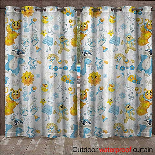 WilliamsDecor Nursery Outdoor Ultraviolet Protective Curtains Its a Boy Image with Happy Sun Raccoon in Pyjamas Blue Hats and Pacifier W96 x L96(245cm x 245cm) ()