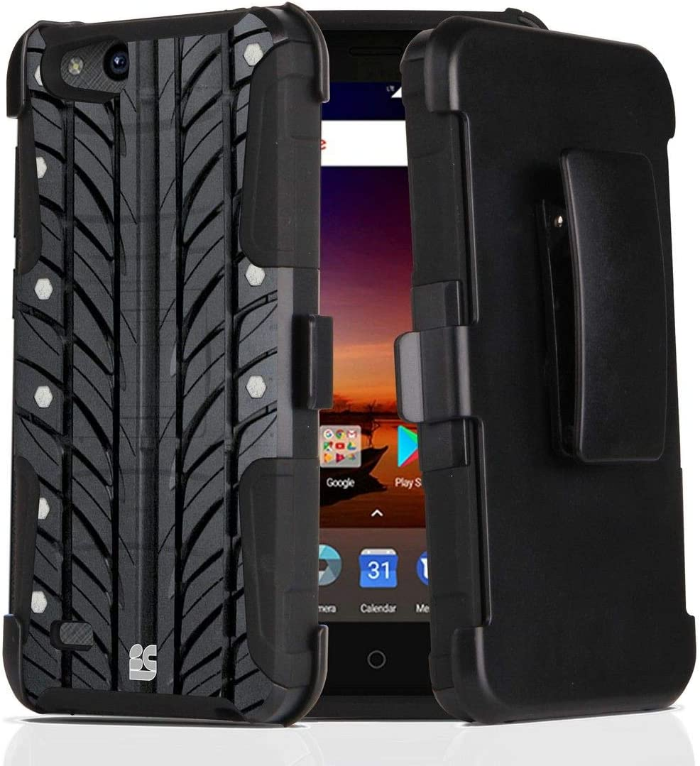 Blade Vantage ZFive G LTE Z557BL Tempered Glass Screen Protector Rugged Stand Holster Cover Atom Cloth Tire Print Dual Layer Armor Case Compatible with ZTE ZFive C LTE Z558VL