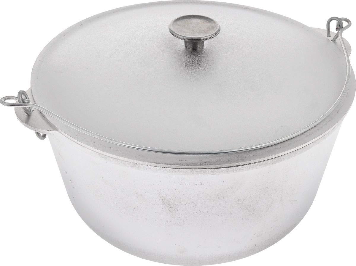 Free2buy Cast Aluminum Cookware Camping Cooking Fire Pot Kazan with Lid for Traditional Uzbek Plov 12.7 qt (12 L)