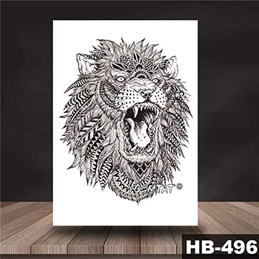 tzxdbh Etiqueta engomada del Tatuaje a Prueba de Agua Animal león ...