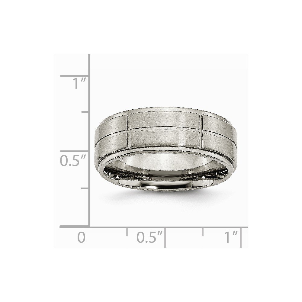 Brilliant Bijou Titanium Grooved Ridged Edge 8mm Satin and Polished Band
