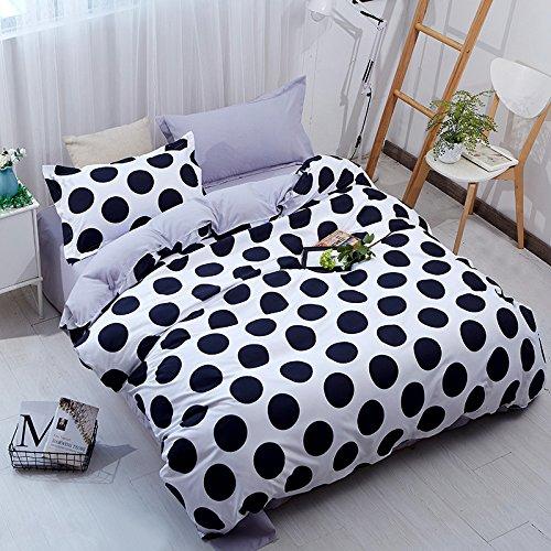YOUSA 3Pcs Black White Polka Dot Bedding Microfiber Polka Dot Printed Bed Cover Set Twin