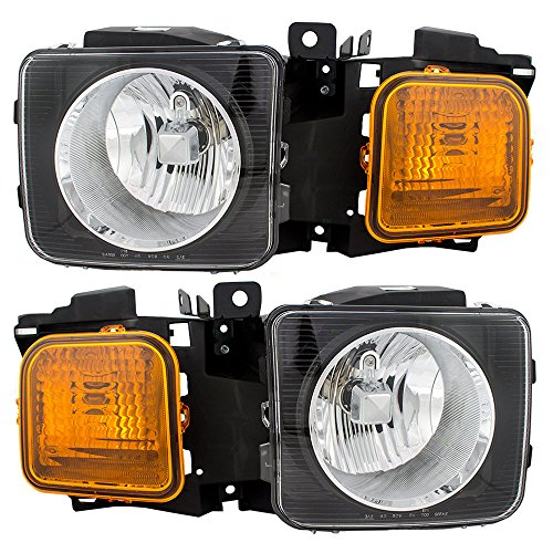 (Pair Set Halogen Combination Headlights Headlamps Replacement fits 06-10 Hummer H3 & H3T Pickup Truck 15951163 15951164 AutoAndArt )