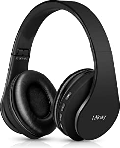 Bluetooth Headphones Wireless,MKay Over Ear Headset V5.0 with Microphone, Foldable & Lightweight, Support Tf Card MP3 Mode and Fm Radio for Cellphones Laptop TV(Plain Black)