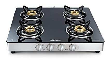 ada4c5d5ebb Image Unavailable. Image not available for. Colour  Sunflame Crystal  Stainless Steel 4 Burner Gas Stove ...