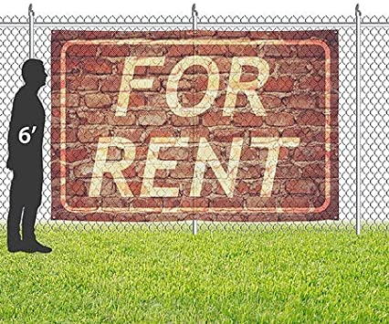 for Rent Ghost Aged Brick Wind-Resistant Outdoor Mesh Vinyl Banner CGSignLab 12x8