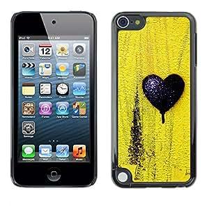 Cubierta de la caja de protección la piel dura para el APPLE IPOD TOUCH 5 - black love yellow texture minimalist
