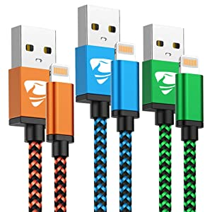iPhone Charger Cord 3ft 3Pack MFi Certified Lightning Cable Fast Charging Nylon Braided Cell Phone Charging Cable Compatible with iPhone 12 Pro 11 Pro Xs Max Xr 10 8 7 6 Plus 5 Se 2020,iPad Multicolor
