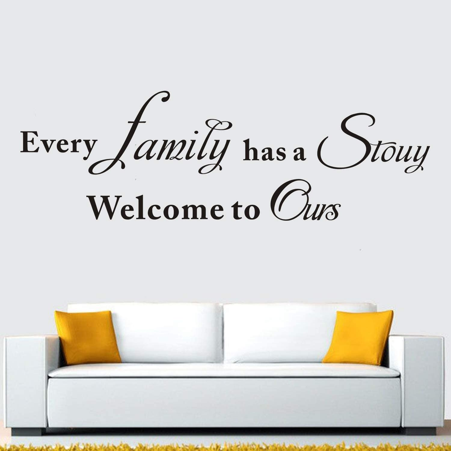 "AnFigure Wall Decals Quotes, Family Wall Decals, Living Room Inspirational Home Love Bedroom Women Life Lettering Sayings Art Decor Vinyl Stickers Every Family Has a Story Welcome to Ours 24""x7.6"""
