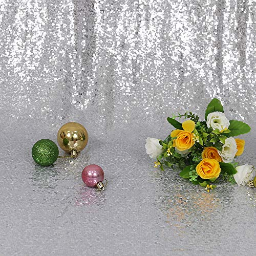 TRLYC 20 Ft X 10 Ft Silver Sequins Backdrop Curtain by TRLYC (Image #4)