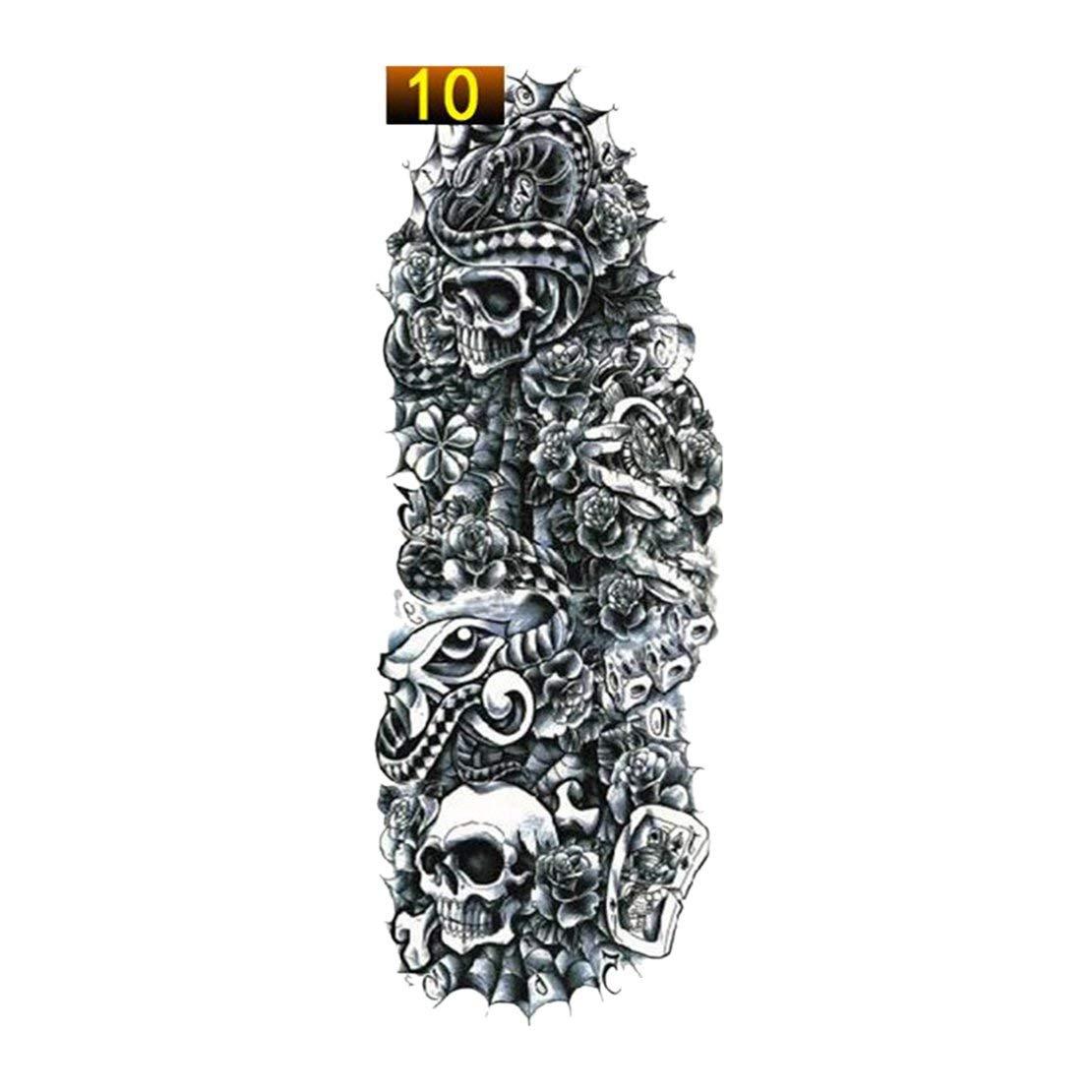 Sanzhileg 1 UNIDS Etiqueta Engomada del Tatuaje del Brazo Completo Impermeable Tatuaje Temporal Manga Hombres Mujeres Pintura Corporal Transferencia de Agua Fake Tatoo Manga