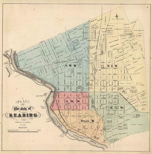 Pennsylvania Antique Map (County Atlas | 1860 Reading, Pennsylvania. | Historic Antique Vintage Map Reprint)