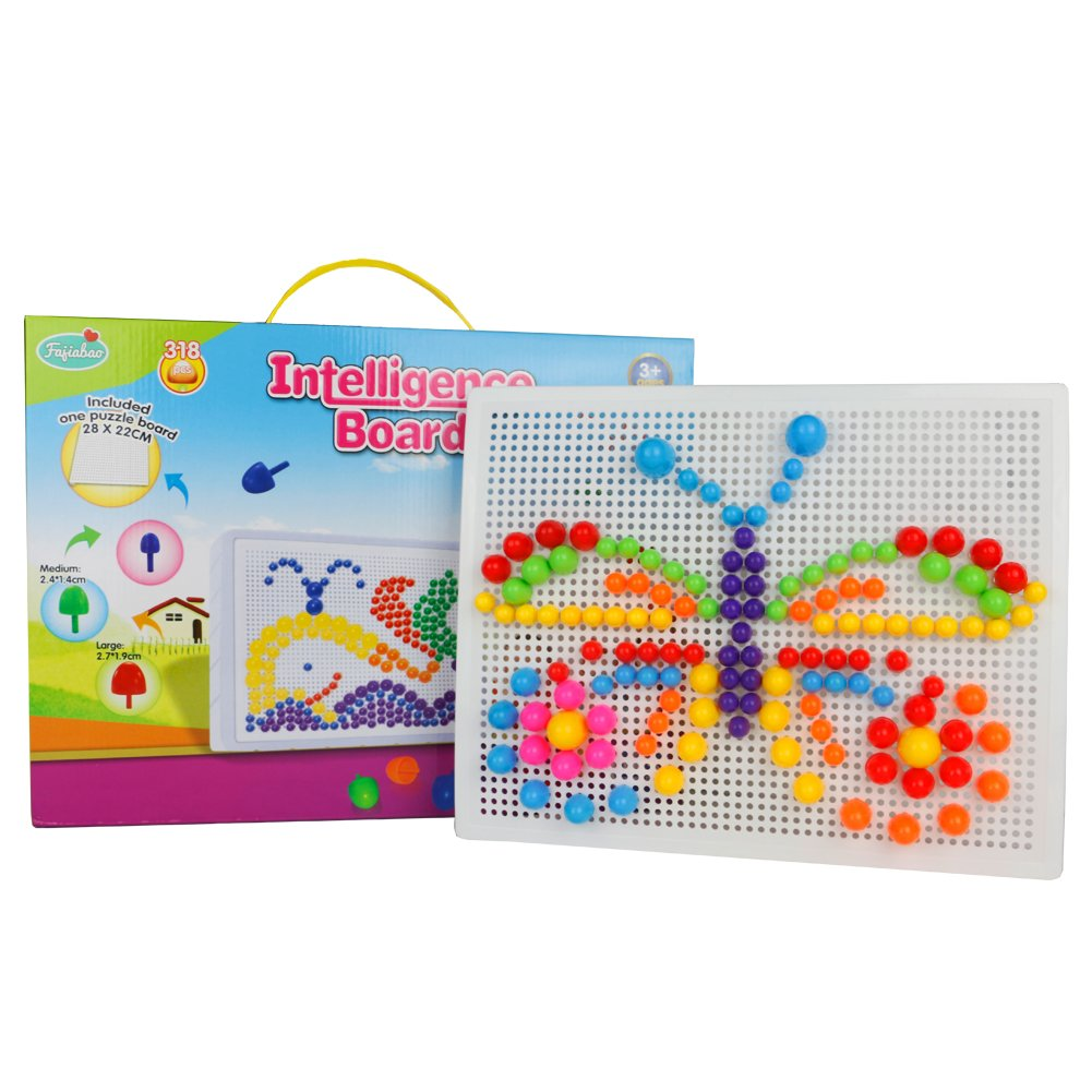Fajiabao 318 Pieces Mosaics Intelligence Board Building Bricks Blocks Jigsaw Puzzle Colorful Mushroom Nails Pegboard Game Toys Set Boys Girls from 3 Year olds