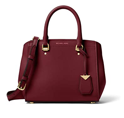 dc0177dda983 Michael Kors Benning Medium Leather Satchel Bag - Oxblood  Handbags   Amazon.com