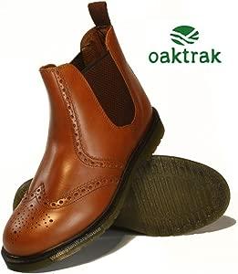 Oaktrak Belper Chocolate Brown Brogue Chelsea Ankle Boots Mens