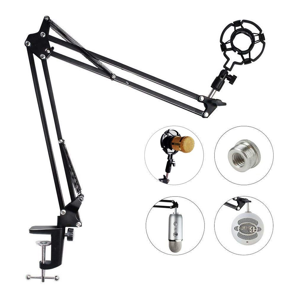 Eastshining Upgraded Adjustable Microphone Suspension Boom Scissor Arm Stand with Shock Mount Mic Clip Holder 3/8'' to 5/8'' Screw Adapter -for Blue Yeti, Snowball & Other Microphones by Eastshining