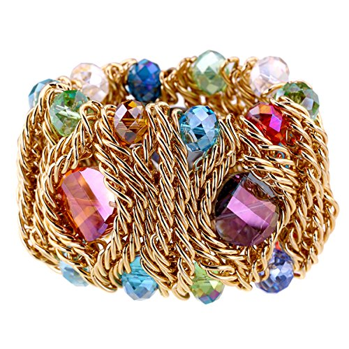 KAYMEN FASHION JEWELLERY 18k Gold Plated Copper Chains Crystal Stone Knit Charm Bangles Bracelets Women 4 Colors (Multicolor)