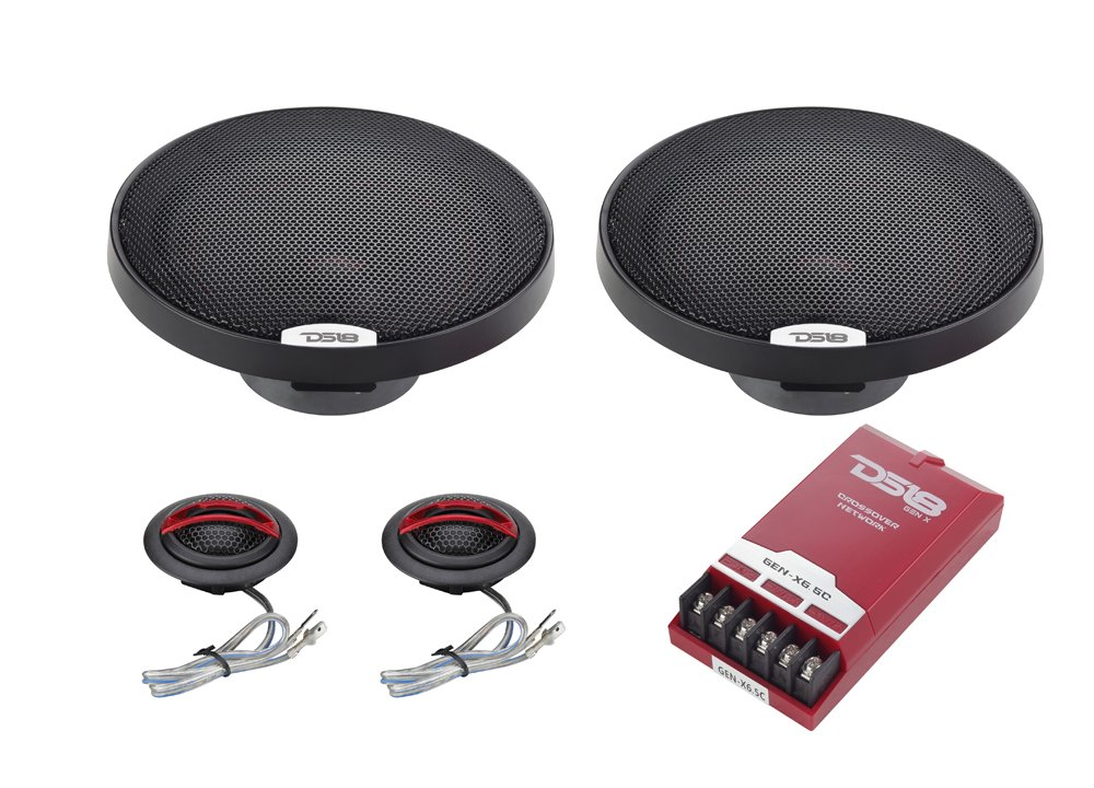 DS18 GEN-X6.5C 6.5 Inch 2-Way Component Speaker System with 2 x 6.5-Inch MID Bass Woofers, 2 x Tetoron Dome Neodymium Tweeters, and 2 x Passive Crossovers Car Audio Sound Quality Speaker Set