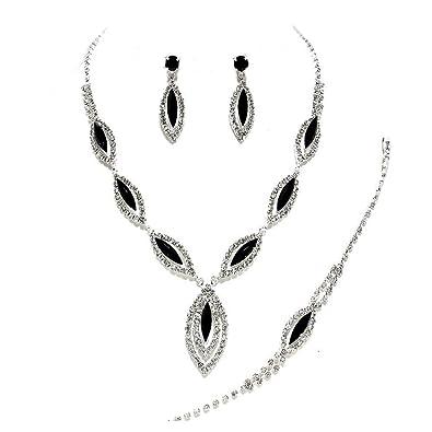 c7ba3f877 Glitzy Glamour Black Crystal/Clear Diamante Necklace/Bracelet/Earring Set:  Amazon.co.uk: Jewellery
